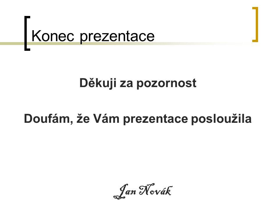 Konec prezentace Děkuji za pozornost Doufám, že Vám prezentace posloužila Jan Novák