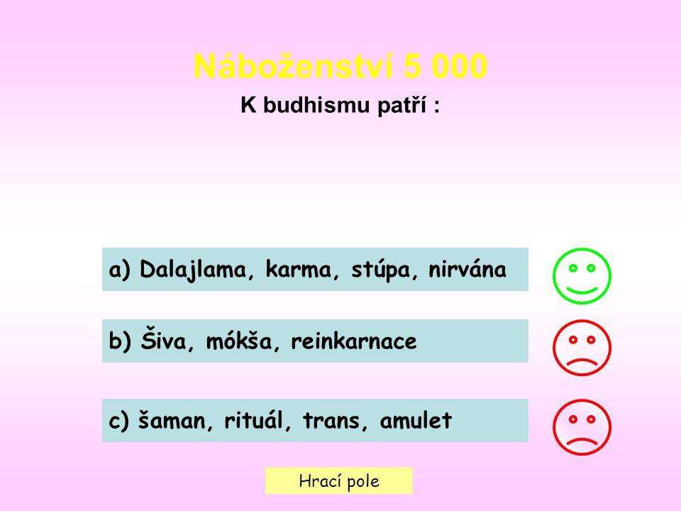 Hrací pole Náboženství 5 000 K budhismu patří : a) Dalajlama, karma, stúpa, nirvána b) Šiva, mókša, reinkarnace c) šaman, rituál, trans, amulet