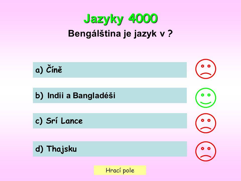 Hrací pole Jazyky 4000 Bengálština je jazyk v .