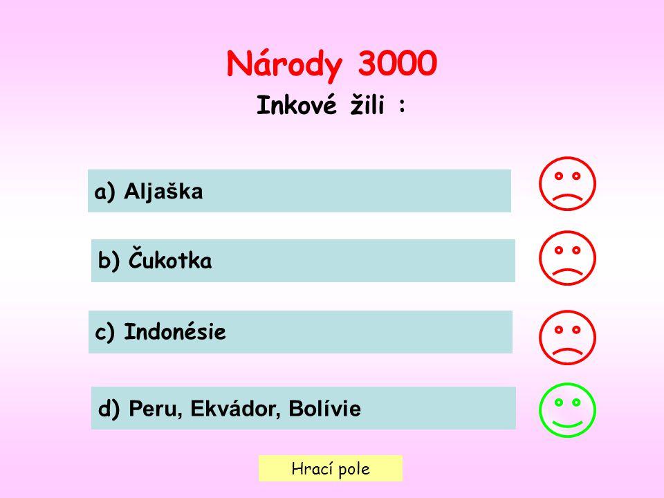 Hrací pole Národy 3000 Inkové žili : a) Aljaška b) Čukotka c) Indonésie d) Peru, Ekvádor, Bolívie