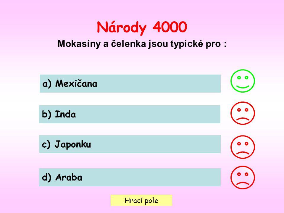 Hrací pole Národy 4000 Mokasíny a čelenka jsou typické pro : a) Mexičana b) Inda c) Japonku d) Araba