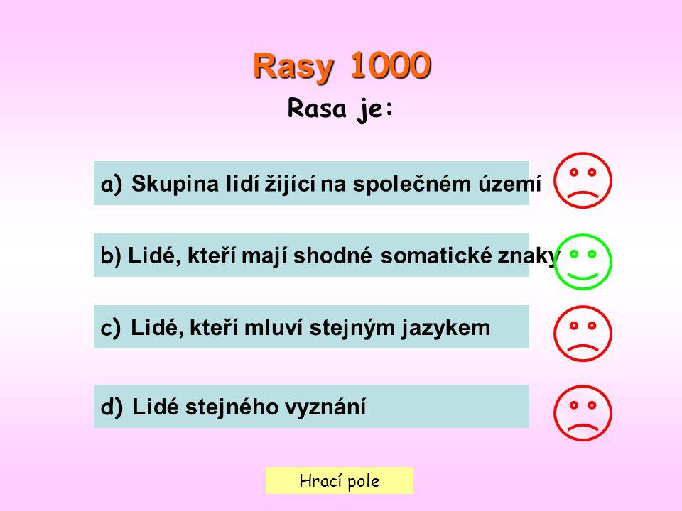 Hrací pole Rasy 1000 Rasa je: a) Skupina lidí žijící na společném území b ) Lidé, kteří mají shodné somatické znaky c) Lidé, kteří mluví stejným jazykem d) Lidé stejného vyznání