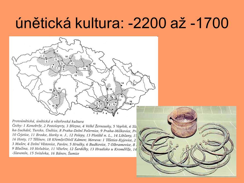 keramika únětické kultury Keramika je kvalitní, dobře vypálená, avšak jen málokdy zdobená.