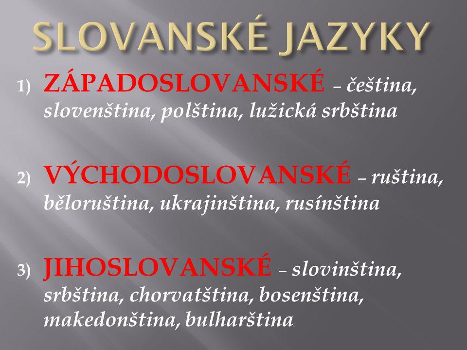 1) ZÁPADOSLOVANSKÉ – čeština, slovenština, polština, lužická srbština 2) VÝCHODOSLOVANSKÉ – ruština, běloruština, ukrajinština, rusínština 3) JIHOSLOVANSKÉ – slovinština, srbština, chorvatština, bosenština, makedonština, bulharština