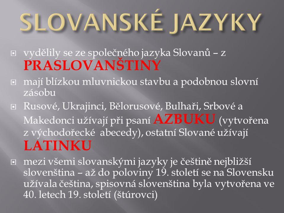  vydělily se ze společného jazyka Slovanů – z PRASLOVANŠTINY  mají blízkou mluvnickou stavbu a podobnou slovní zásobu  Rusové, Ukrajinci, Bělorusové, Bulhaři, Srbové a Makedonci užívají při psaní AZBUKU (vytvořena z východořecké abecedy), ostatní Slované užívají LATINKU  mezi všemi slovanskými jazyky je češtině nejbližší slovenština – až do poloviny 19.
