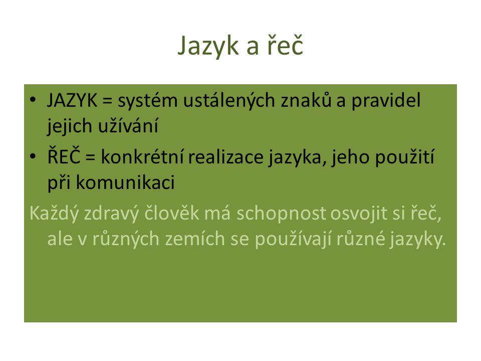 Jazyk a řeč JAZYK = systém ustálených znaků a pravidel jejich užívání ŘEČ = konkrétní realizace jazyka, jeho použití při komunikaci Každý zdravý člověk má schopnost osvojit si řeč, ale v různých zemích se používají různé jazyky.