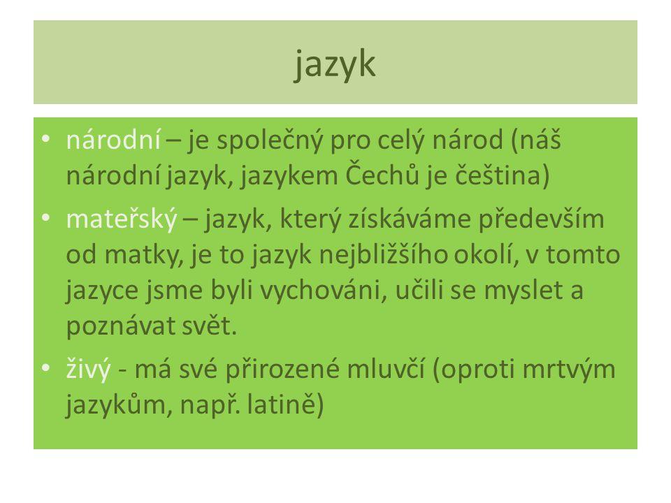 jazyk národní – je společný pro celý národ (náš národní jazyk, jazykem Čechů je čeština) mateřský – jazyk, který získáváme především od matky, je to jazyk nejbližšího okolí, v tomto jazyce jsme byli vychováni, učili se myslet a poznávat svět.