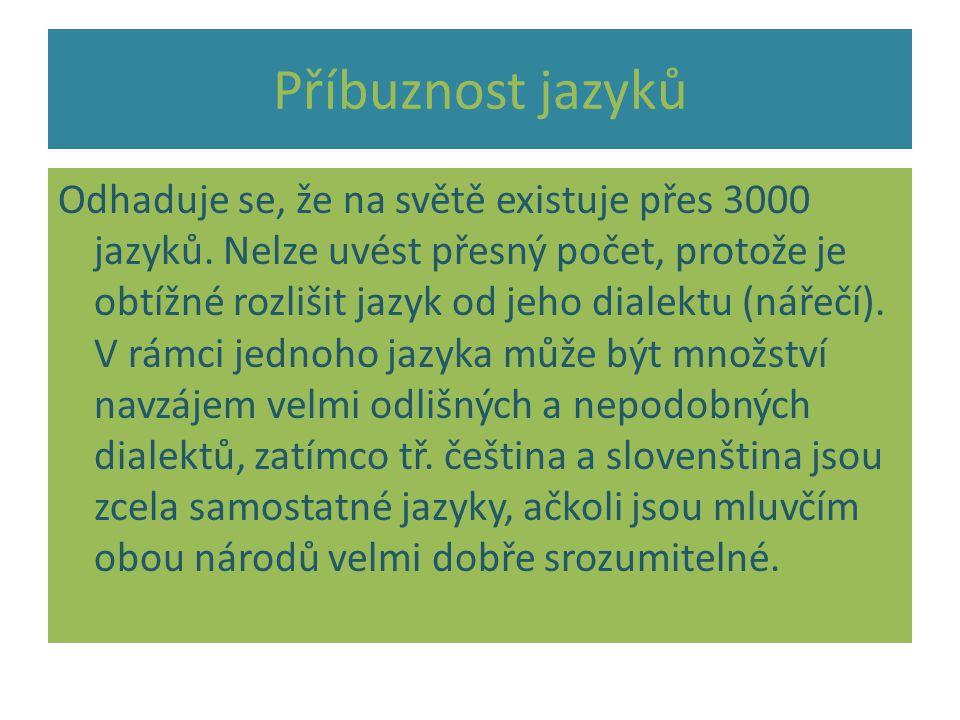 Jazykové rodiny JAZYKOVÉ RODINY (skupiny) jsou skupiny jazyků, v nichž jsou si jazyky vzájemně podobné Jsou však i jazyky, které se nezařazují do žádné jazykové rodiny.