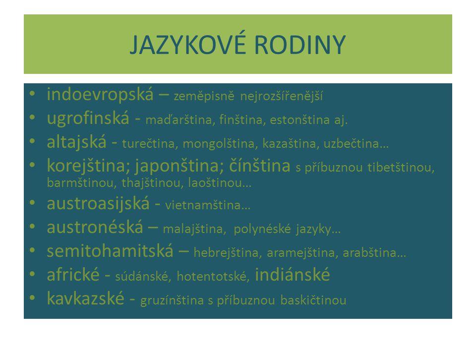 JAZYKOVÉ RODINY indoevropská – zeměpisně nejrozšířenější ugrofinská - maďarština, finština, estonština aj.