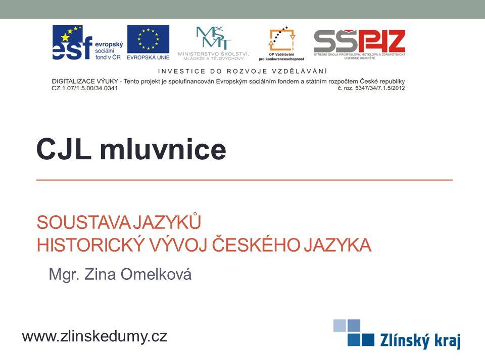 SOUSTAVA JAZYKŮ HISTORICKÝ VÝVOJ ČESKÉHO JAZYKA Mgr. Zina Omelková CJL mluvnice www.zlinskedumy.cz