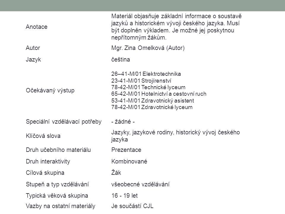 Anotace Materiál objasňuje základní informace o soustavě jazyků a historickém vývoji českého jazyka. Musí být doplněn výkladem. Je možné jej poskytnou