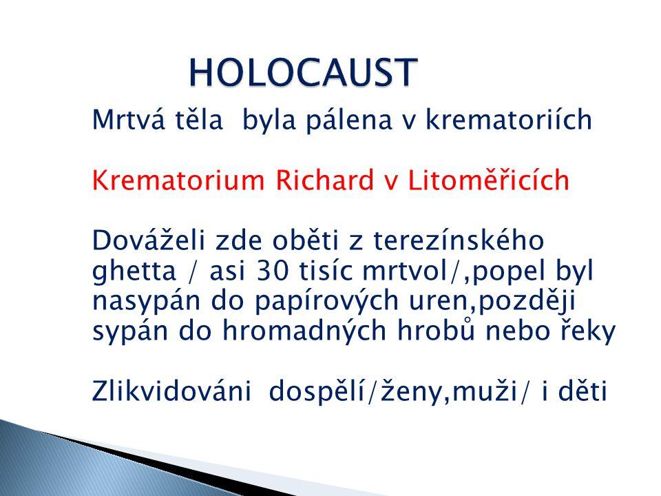 Na mnohých obětech byly před smrtí prováděny lékařské pokusy Vyhlazovací válka – zaměřena i na skupiny tělesně a psychicky postižené -homosexuály -slovanské národy -příslušníky Jehovovy sekty