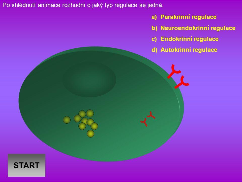 START a)Parakrinní regulace b)Neuroendokrinní regulace c)Endokrinní regulace d)Autokrinní regulace Po shlédnutí animace rozhodni o jaký typ regulace se jedná.
