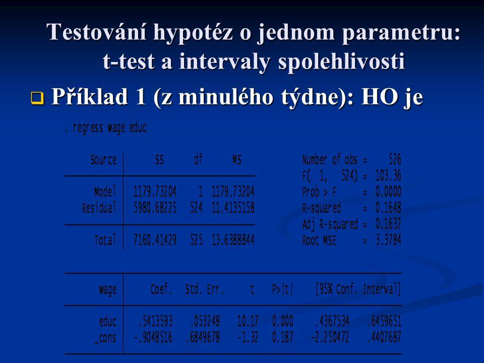 Testování hypotéz o jednom parametru: t-test a intervaly spolehlivosti  Příklad 2 (z minulého týdne): HO je