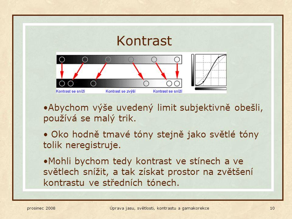 prosinec 2008Úprava jasu, světlosti, kontrastu a gamakorekce 10 Kontrast Abychom výše uvedený limit subjektivně obešli, používá se malý trik.