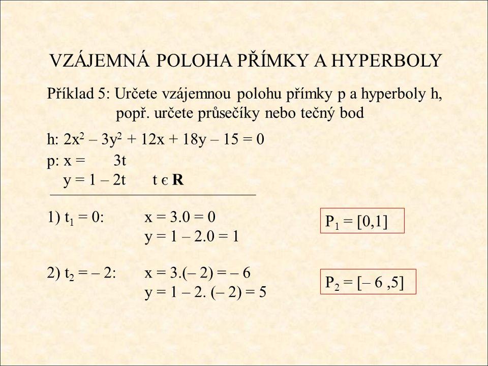 VZÁJEMNÁ POLOHA PŘÍMKY A HYPERBOLY Příklad 5: Určete vzájemnou polohu přímky p a hyperboly h, popř.