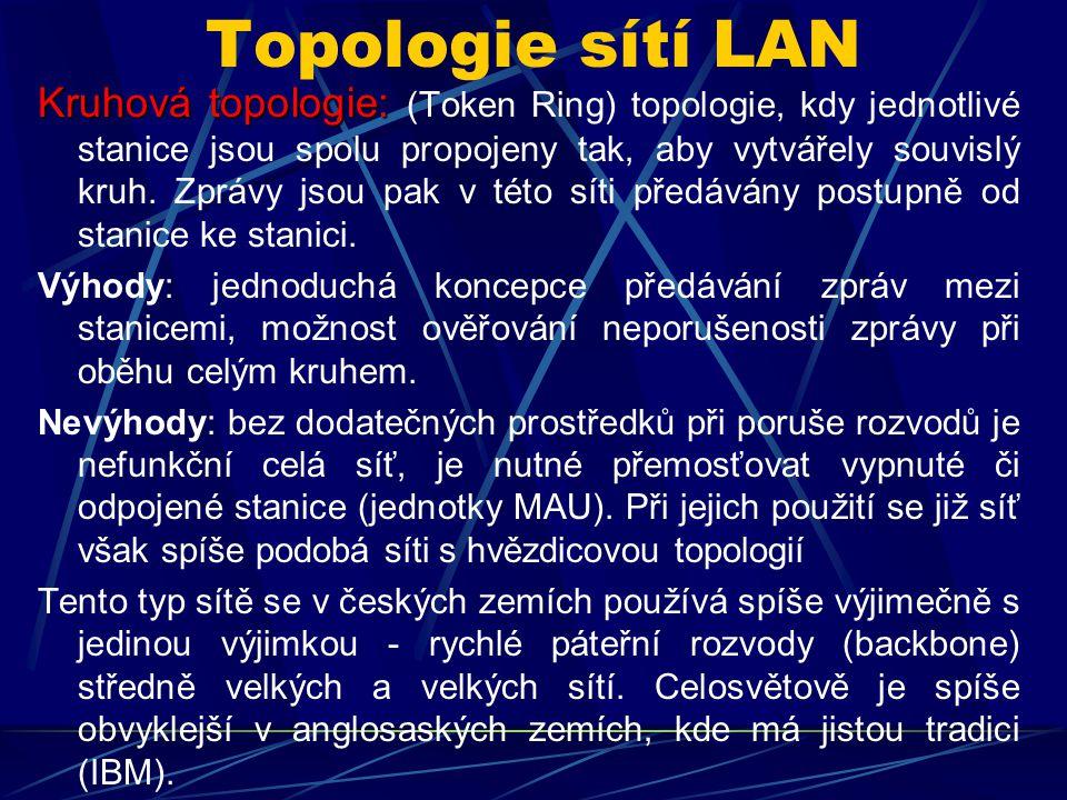 Topologie sítí LAN Kruhová topologie: Kruhová topologie: (Token Ring) topologie, kdy jednotlivé stanice jsou spolu propojeny tak, aby vytvářely souvislý kruh.