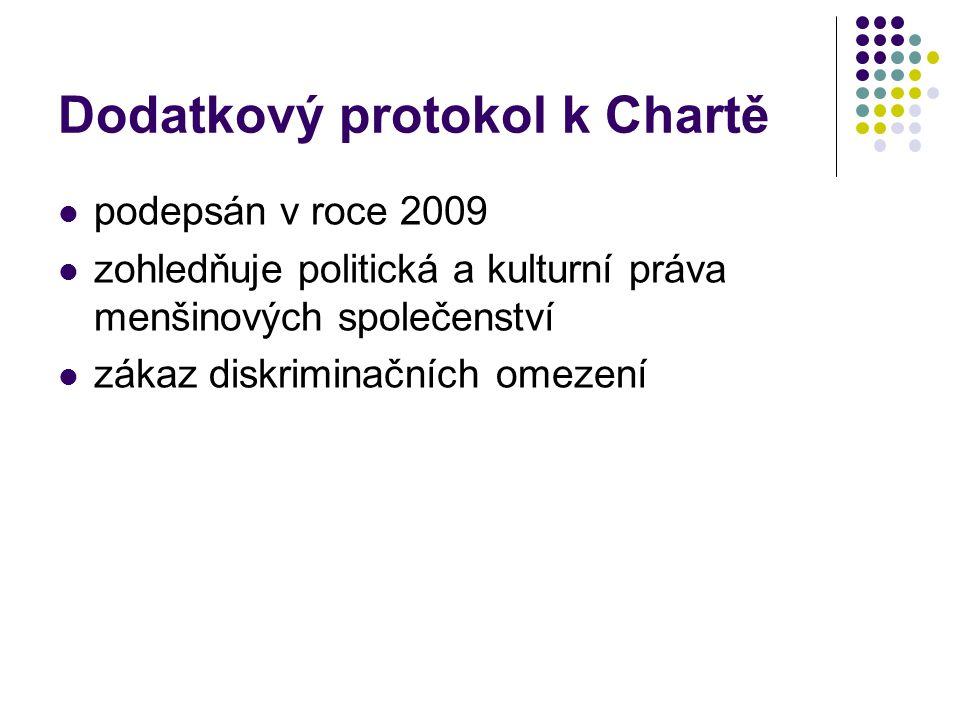 Dodatkový protokol k Chartě podepsán v roce 2009 zohledňuje politická a kulturní práva menšinových společenství zákaz diskriminačních omezení