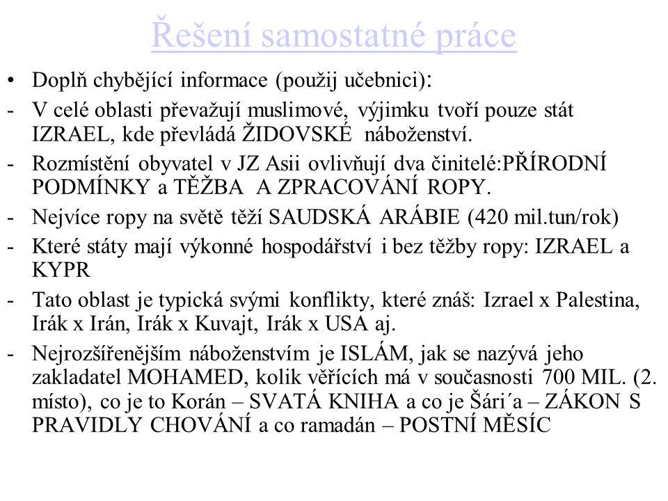 Řešení samostatné práce Doplň chybějící informace (použij učebnici) : -V celé oblasti převažují muslimové, výjimku tvoří pouze stát IZRAEL, kde převlá