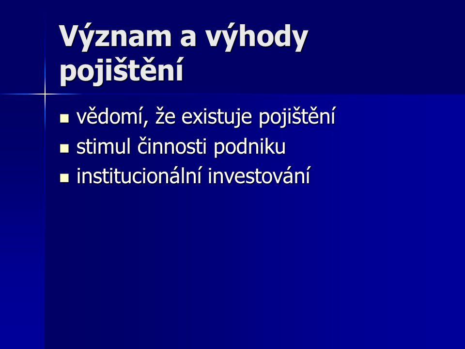 Význam a výhody pojištění vědomí, že existuje pojištění vědomí, že existuje pojištění stimul činnosti podniku stimul činnosti podniku institucionální investování institucionální investování