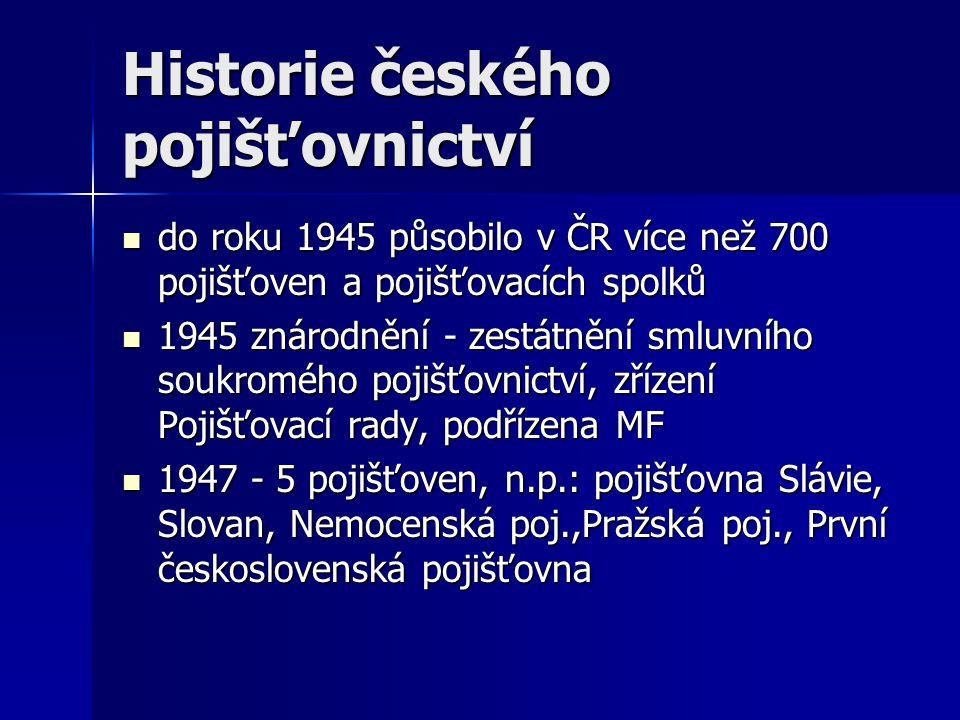Historie českého pojišťovnictví do roku 1945 působilo v ČR více než 700 pojišťoven a pojišťovacích spolků do roku 1945 působilo v ČR více než 700 pojišťoven a pojišťovacích spolků 1945 znárodnění - zestátnění smluvního soukromého pojišťovnictví, zřízení Pojišťovací rady, podřízena MF 1945 znárodnění - zestátnění smluvního soukromého pojišťovnictví, zřízení Pojišťovací rady, podřízena MF 1947 - 5 pojišťoven, n.p.: pojišťovna Slávie, Slovan, Nemocenská poj.,Pražská poj., První československá pojišťovna 1947 - 5 pojišťoven, n.p.: pojišťovna Slávie, Slovan, Nemocenská poj.,Pražská poj., První československá pojišťovna