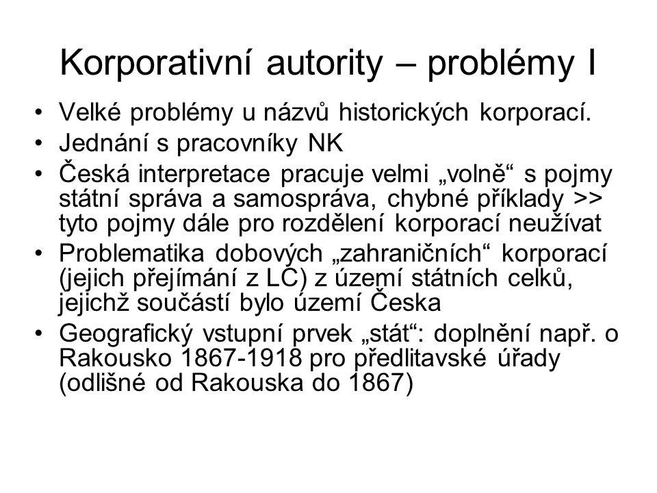 Korporativní autority – problémy I Velké problémy u názvů historických korporací.