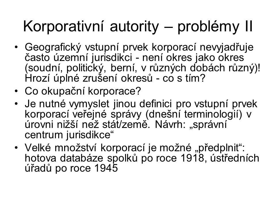 Korporativní autority – problémy II Geografický vstupní prvek korporací nevyjadřuje často územní jurisdikci - není okres jako okres (soudní, politický, berní, v různých dobách různý).