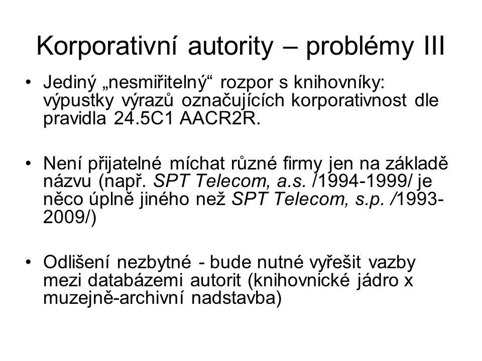 """Korporativní autority – problémy III Jediný """"nesmiřitelný rozpor s knihovníky: výpustky výrazů označujících korporativnost dle pravidla 24.5C1 AACR2R."""
