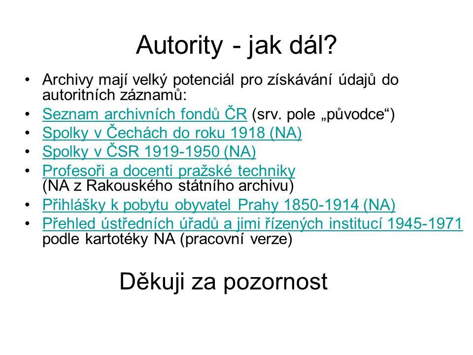 Autority - jak dál.