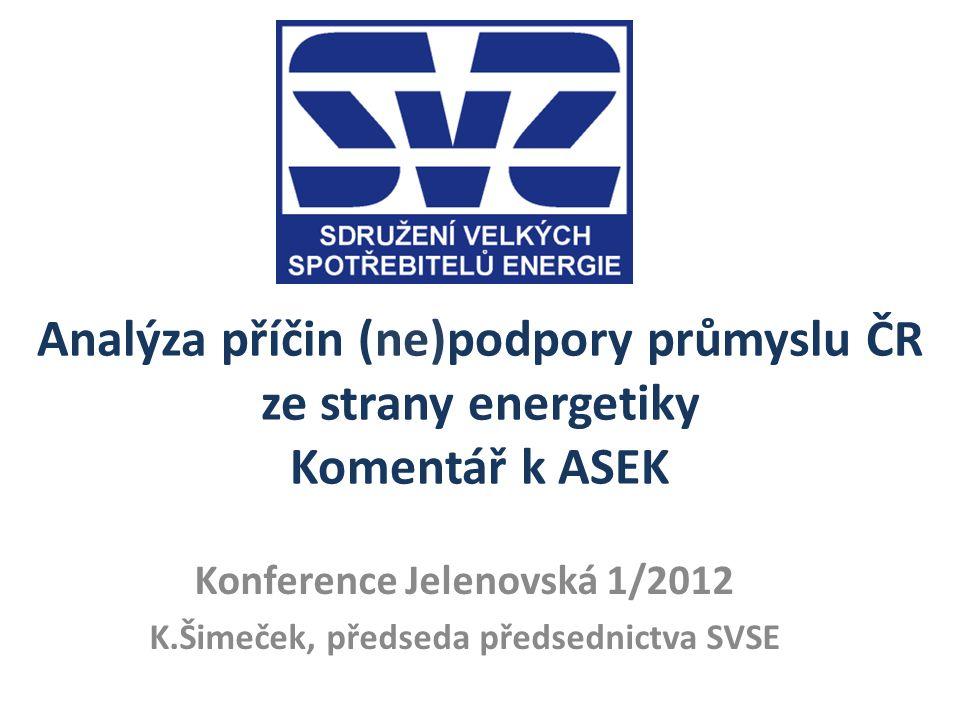 Principy prosazované SVSE 1.Zákon o POZE – naplnění cílů ČR v této oblasti (13% v roce 2020) řídit prostřednictvím NAP (MPO) a cenově usměrňovat dle regulačních zásad možné veřejné podpory (ERÚ) 2.Na hrazení nákladů za POZE by se průmysl měl podílet na úrovni srovnatelné s jinou evropskou konkurencí 3.Na hrazení nákladů za POZE by se měl podílet stát ze svého rozpočtu využitím příjmů z aukce povolenek CO2 a ekologických daní