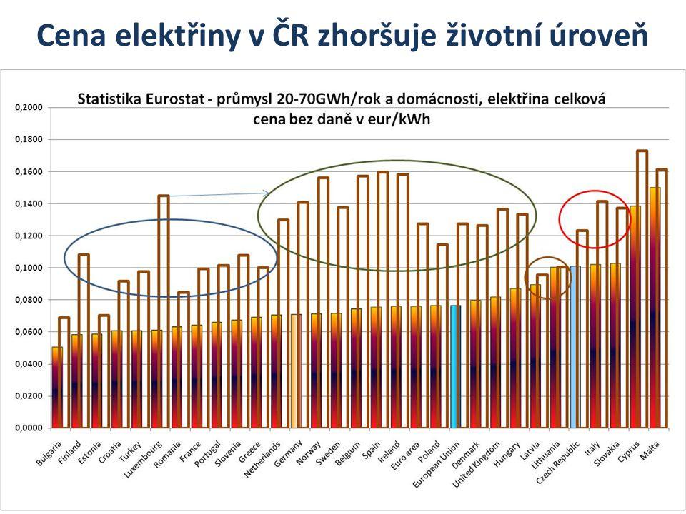 Cena elektřiny v ČR zhoršuje životní úroveň
