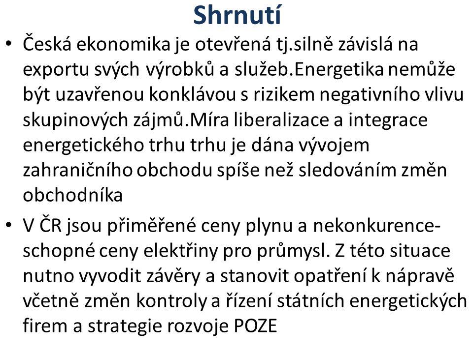 Shrnutí Česká ekonomika je otevřená tj.silně závislá na exportu svých výrobků a služeb.Energetika nemůže být uzavřenou konklávou s rizikem negativního vlivu skupinových zájmů.Míra liberalizace a integrace energetického trhu trhu je dána vývojem zahraničního obchodu spíše než sledováním změn obchodníka V ČR jsou přiměřené ceny plynu a nekonkurence- schopné ceny elektřiny pro průmysl.