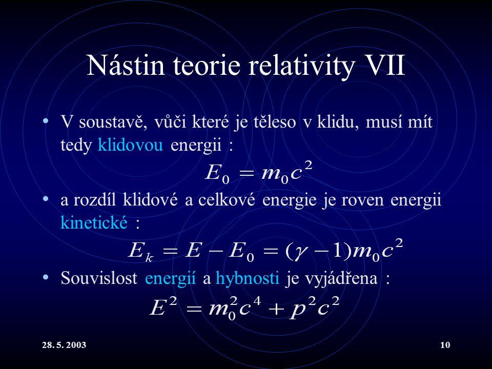 28. 5. 200310 Nástin teorie relativity VII V soustavě, vůči které je těleso v klidu, musí mít tedy klidovou energii : a rozdíl klidové a celkové energ