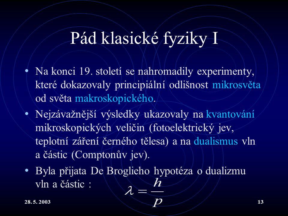 28. 5. 200313 Pád klasické fyziky I Na konci 19. století se nahromadily experimenty, které dokazovaly principiální odlišnost mikrosvěta od světa makro