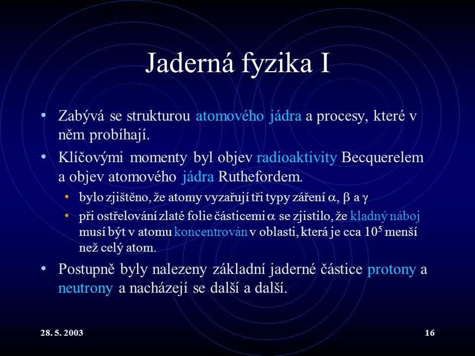 28. 5. 200316 Jaderná fyzika I Zabývá se strukturou atomového jádra a procesy, které v něm probíhají. Klíčovými momenty byl objev radioaktivity Becque