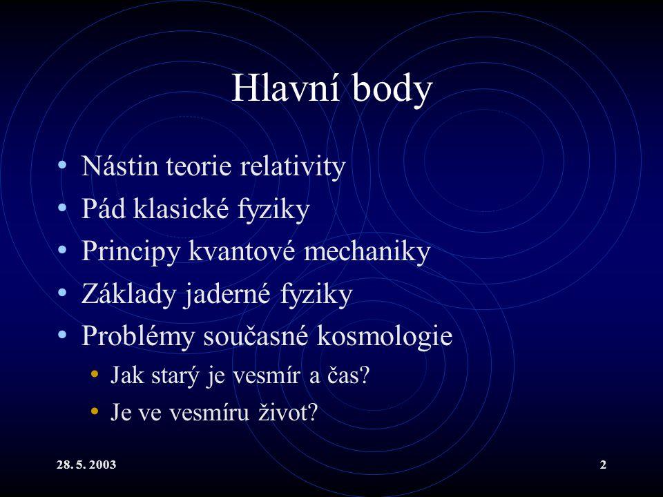 28. 5. 20032 Hlavní body Nástin teorie relativity Pád klasické fyziky Principy kvantové mechaniky Základy jaderné fyziky Problémy současné kosmologie