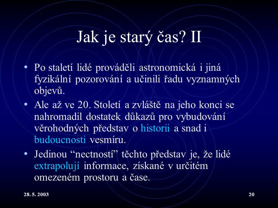 28. 5. 200320 Jak je starý čas? II Po staletí lidé prováděli astronomická i jiná fyzikální pozorování a učinili řadu vyznamných objevů. Ale až ve 20.