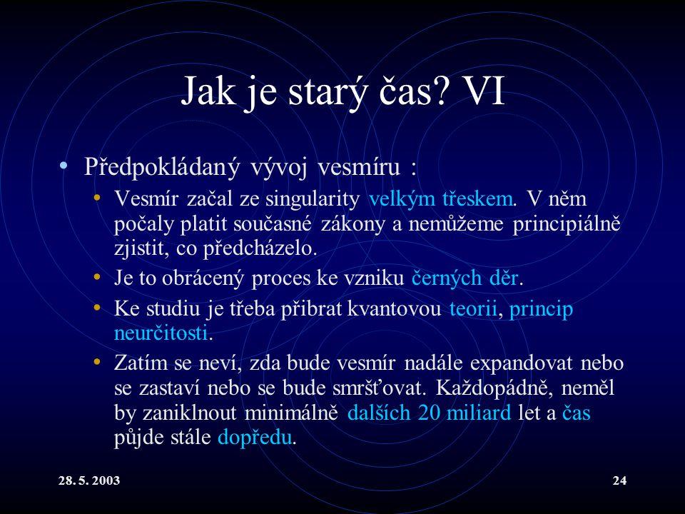 28. 5. 200324 Jak je starý čas? VI Předpokládaný vývoj vesmíru : Vesmír začal ze singularity velkým třeskem. V něm počaly platit současné zákony a nem