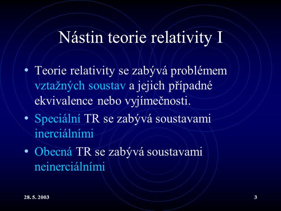 28. 5. 20033 Nástin teorie relativity I Teorie relativity se zabývá problémem vztažných soustav a jejich případné ekvivalence nebo vyjímečnosti. Speci