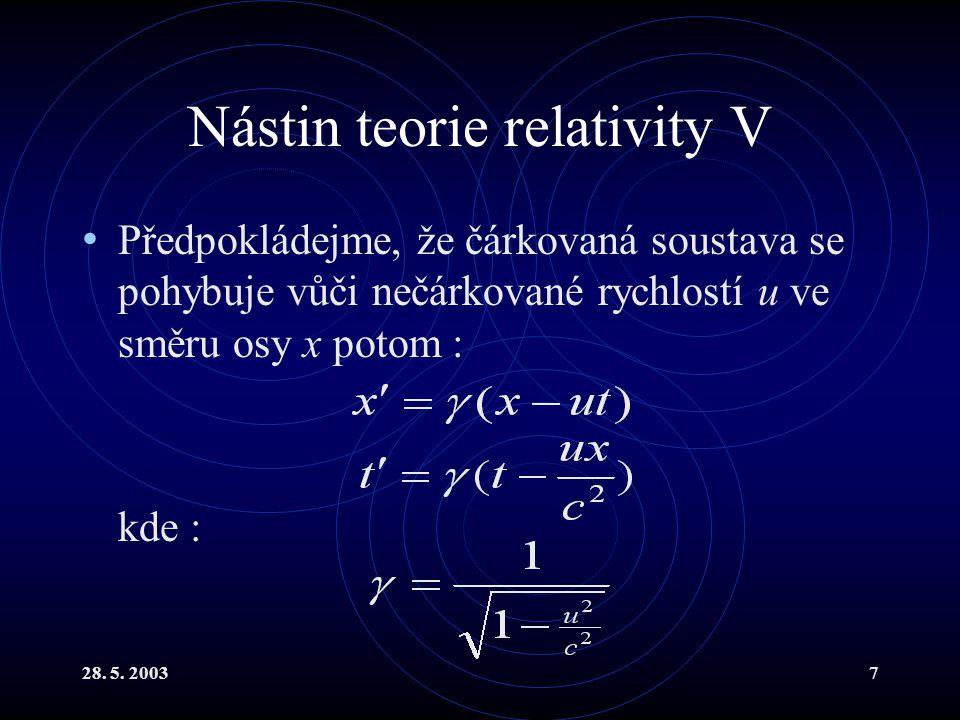28. 5. 20037 Nástin teorie relativity V Předpokládejme, že čárkovaná soustava se pohybuje vůči nečárkované rychlostí u ve směru osy x potom : kde :