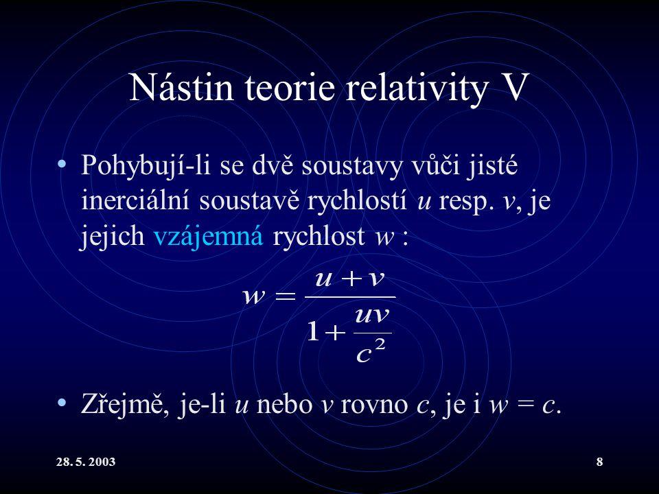 28. 5. 20038 Nástin teorie relativity V Pohybují-li se dvě soustavy vůči jisté inerciální soustavě rychlostí u resp. v, je jejich vzájemná rychlost w