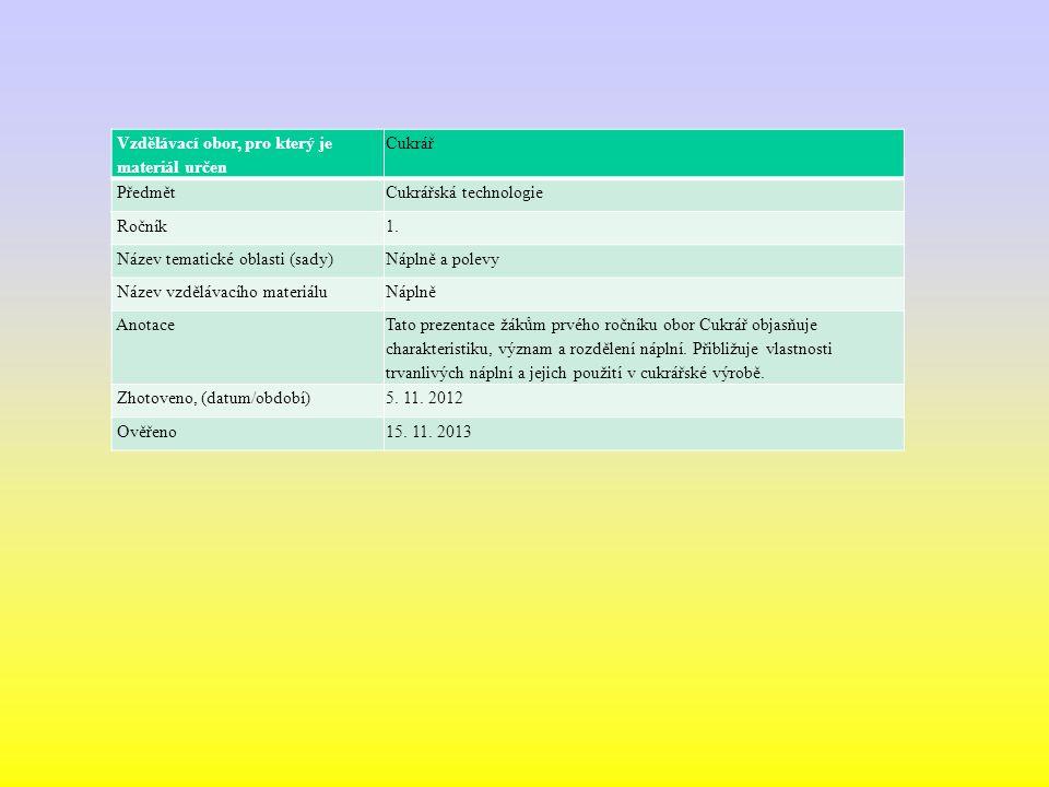 Vzdělávací obor, pro který je materiál určen Cukrář PředmětCukrářská technologie Ročník1.