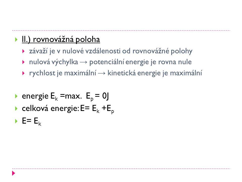  ll.) rovnovážná poloha  závaží je v nulové vzdálenosti od rovnovážné polohy  nulová výchylka → potenciální energie je rovna nule  rychlost je maximální → kinetická energie je maximální  energie E k =max.
