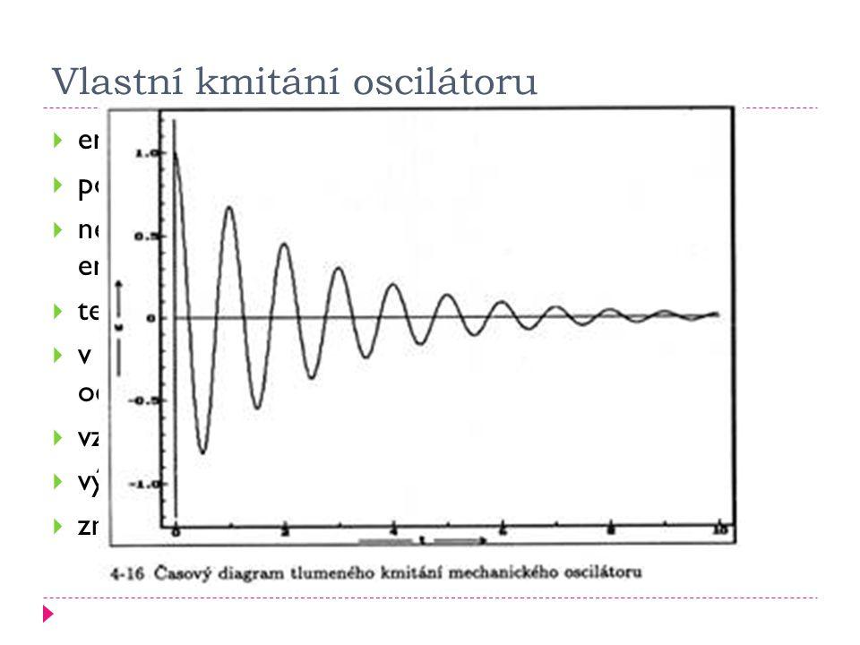 Vlastní kmitání oscilátoru  energie je oscilátoru dodána pouze na začátku  poté oscilátor kmitá sám  neustále dochází k přeměně kinetické a potenciální energie  tento děj se nazývá vlastní kmitání oscilátoru  v běžných podmínkách dochází ke tření, projevuje se odpor prostředí….