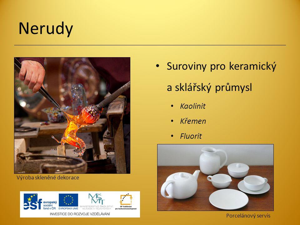 Nerudy Suroviny pro keramický a sklářský průmysl Kaolinit Křemen Fluorit Porcelánový servis Výroba skleněné dekorace