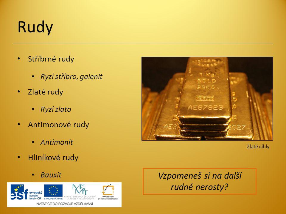 Rudy Stříbrné rudy Ryzí stříbro, galenit Zlaté rudy Ryzí zlato Antimonové rudy Antimonit Hliníkové rudy Bauxit Zlaté cihly Vzpomeneš si na další rudné