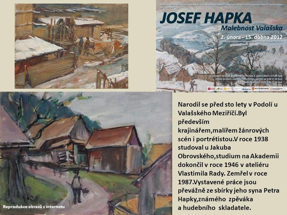 Půdní prostory v galerii Sýpka ve Valašském Meziříčí.Zde jsme si prohlédli drobnější práce a grafiky Josefa Hapky.