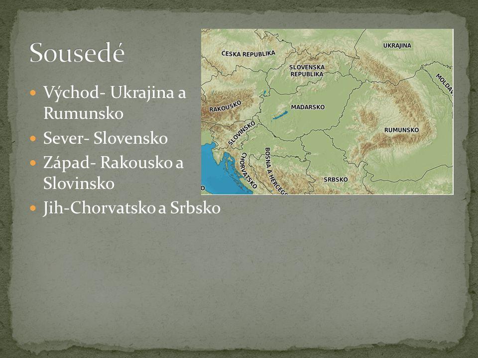 Východ- Ukrajina a Rumunsko Sever- Slovensko Západ- Rakousko a Slovinsko Jih-Chorvatsko a Srbsko