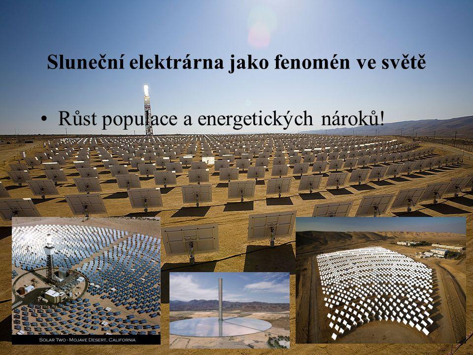Sluneční elektrárna jako fenomén ve světě Růst populace a energetických nároků!