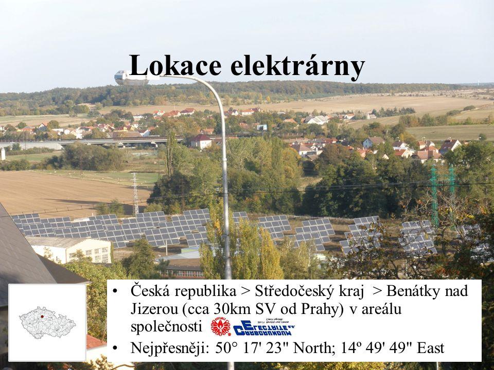 Lokace elektrárny Česká republika > Středočeský kraj > Benátky nad Jizerou (cca 30km SV od Prahy) v areálu společnosti Nejpřesněji: 50° 17 23 North; 14º 49 49 East